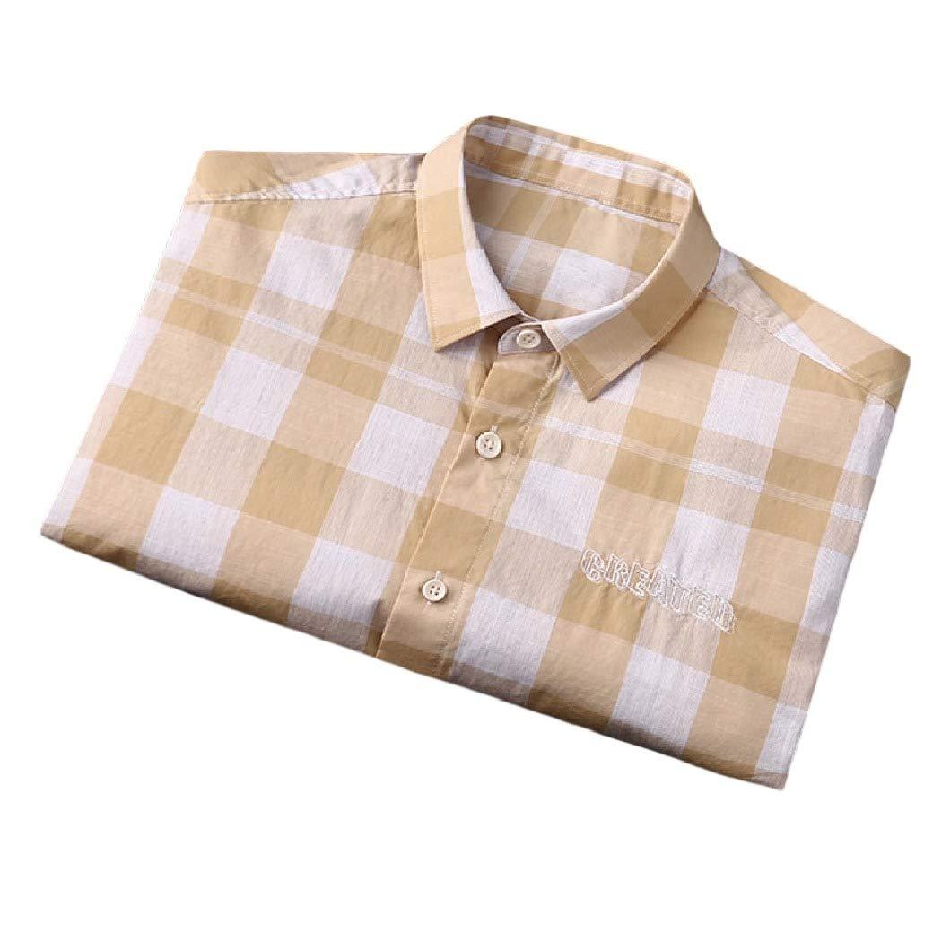 Coolred-Men Lapel Button Down Short Sleeve Plaid Cotton Casual Tops Shirt