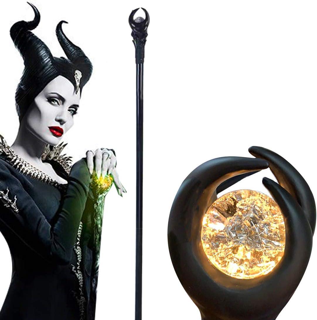 Zauberer Zepter Zauberstab Halloween Prop orange Lichtkugel 51 Zoll Deluxe Maleficent Staff mit gr/ün gr/ünes Licht