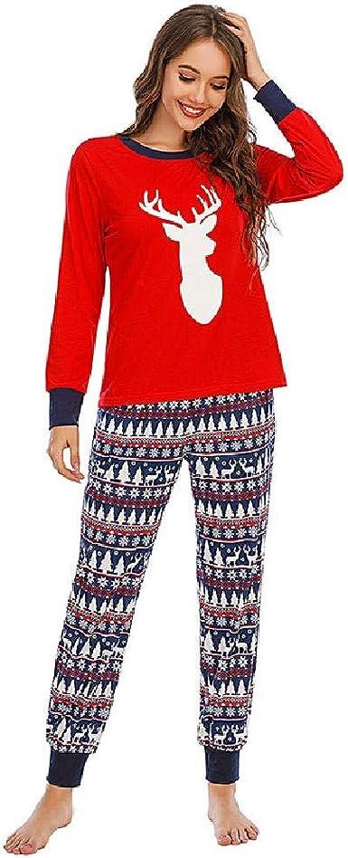 Navidad Casual Linda Mujer Suelta Ropa de casa Pijamas Mujer ...