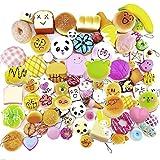 30 PCS Kawaii Mini Squishy Toys - Gosear Soft Simulated Food Panda Bread Cake Buns Pendants Keychains Phone Chain Straps Ornaments Accessories Random Style