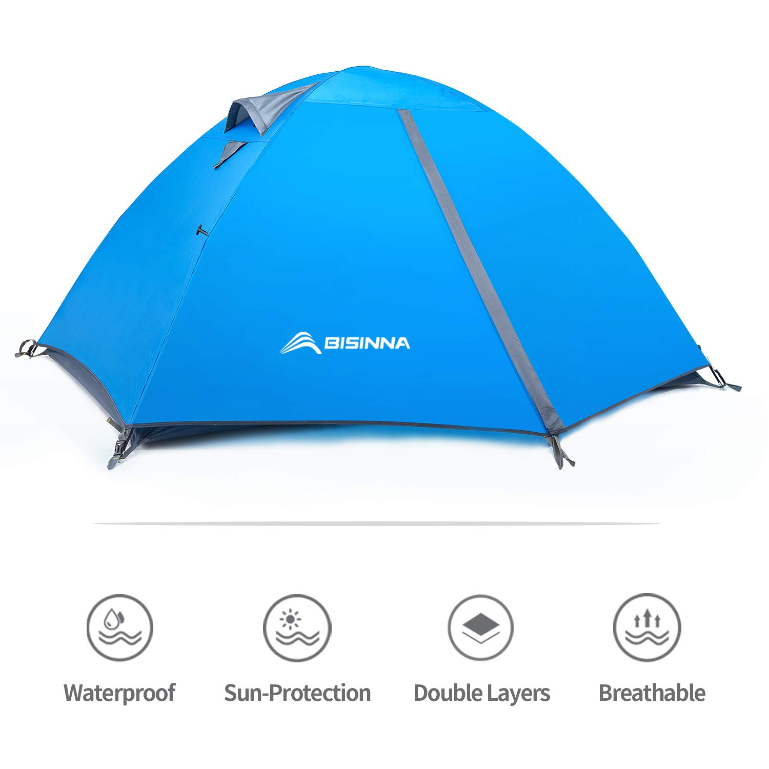 BISINNA 2 Person Camping Tent Lightweight Backpacking Tent Waterproof Windproof Two Doors Easy Setup Double Layer Outdoor Tent for Camping Beach Hunting Hiking Mountaineering Travel by BISINNA