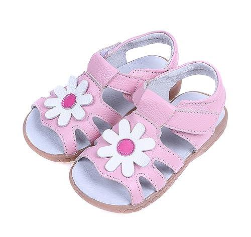 530820e339ed Mobnau Cute Floral Leather Sandles Toddler Girls Sandals Pink 20 5 M US  Toddler