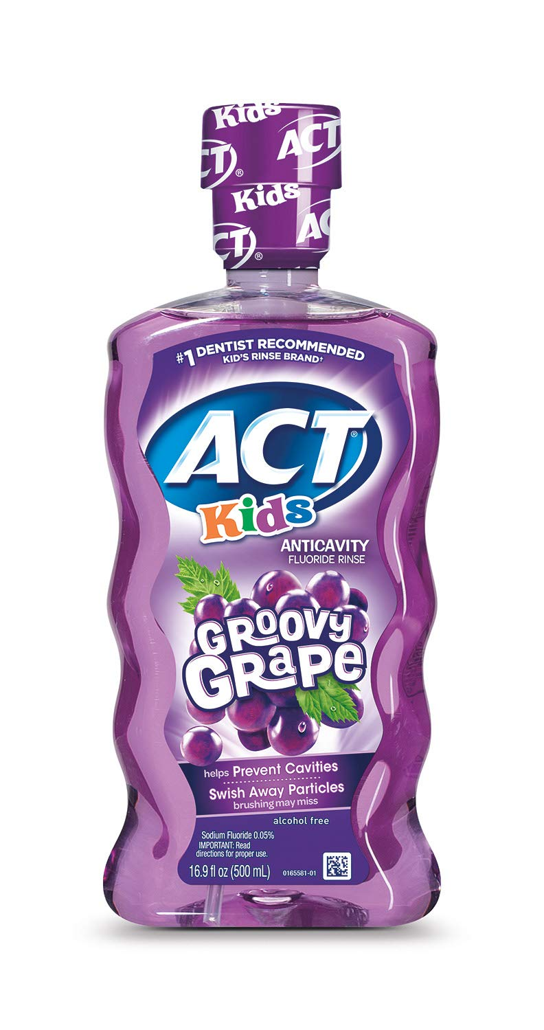 ACT Kids Anti-Cavity Fluoride Rinse Groovy Grape with Fuoride & Exact Dosage Meter, 16.89 Ounce