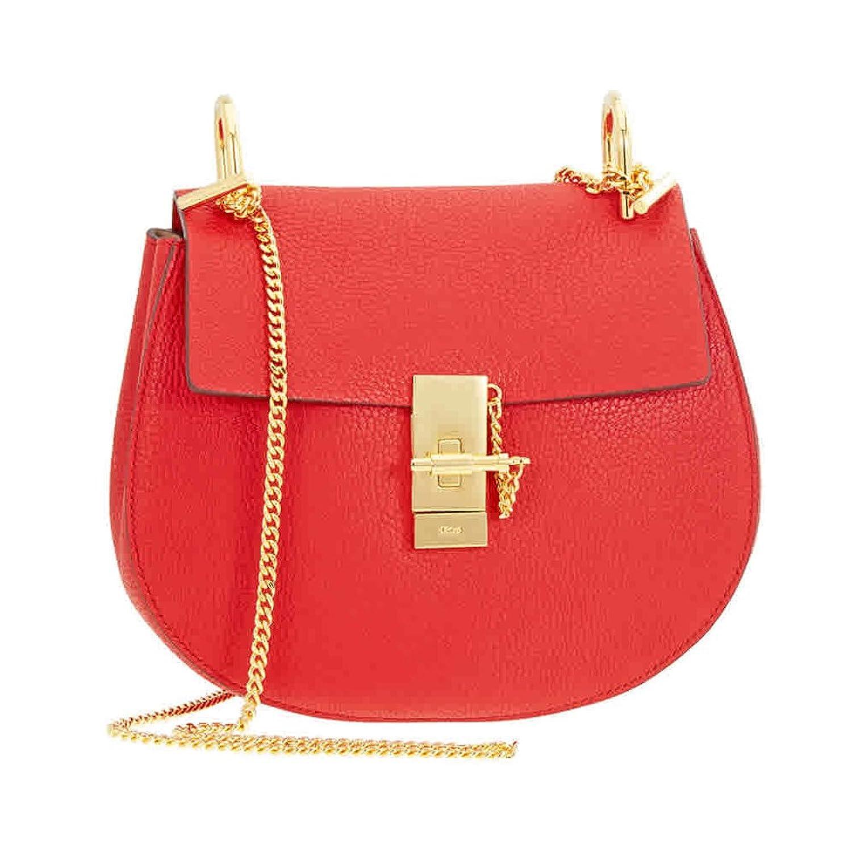 Chloe Drew Calfskin Leather Shoulder Bag - Plaid Red