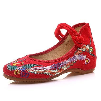 Zapatos Bordados Phoenix Rojo Ballet de algodón Plano Mocasines Casuales de los Holgazanes de algodón (