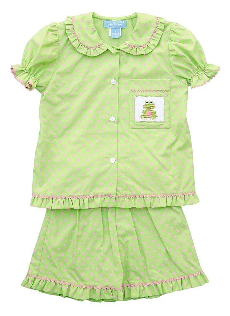Anavini Girls Pajama Froggy Short Set-4 Green