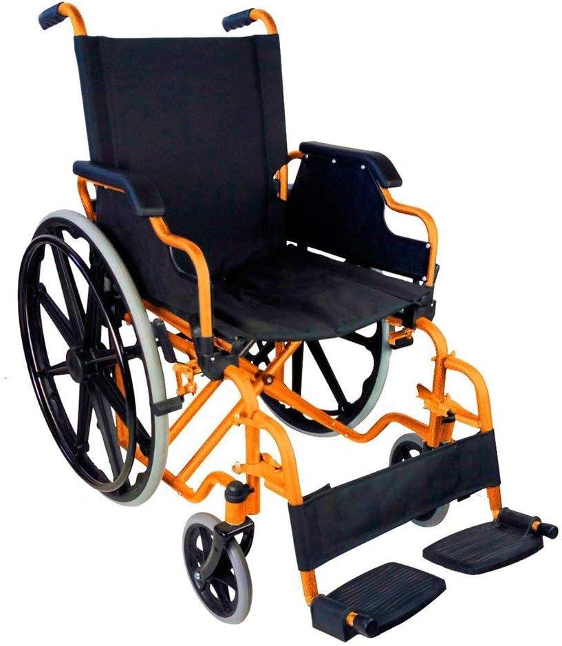 Mobiclinic, modelo Giralda, Silla de ruedas plegable, ortopédica, para minusválidos, de aluminio, reposapiés y reposabrazos extraíbles, color Naranja, asiento 46 cm, ultraligera