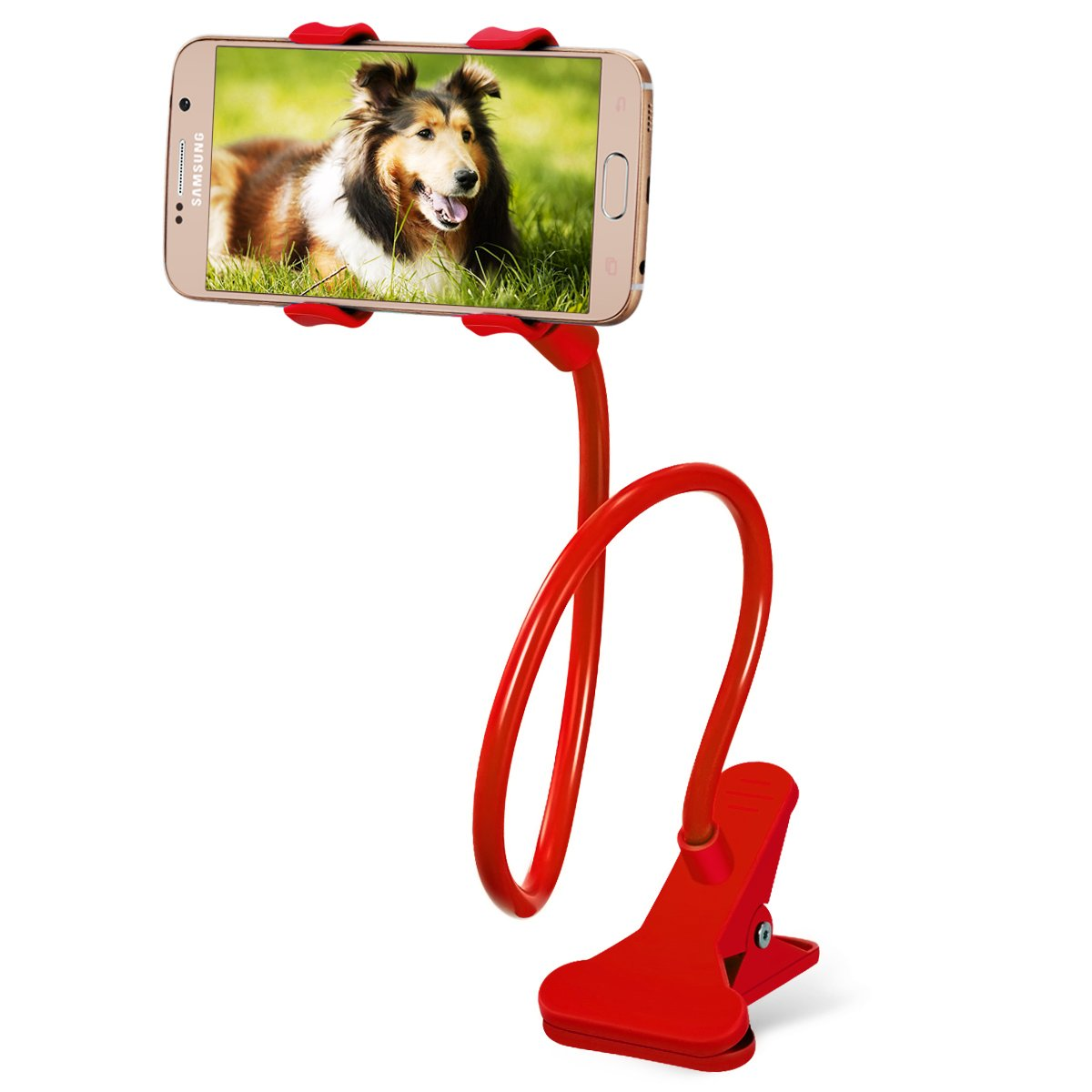 Breett Cell Phone Holder, Universal Cell Phone Clip Holder Lazy Bracket Flexible Long Arms for iPhone, GPS Devices, Fit on Desktop Bed Mobile Stand for Bedroom, Office, Bathroom, Kitchen