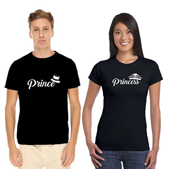 fb68d27015 YaYa cafe Valentine Couple T Shirts Prince Princess 100% Cotton Men Women  Black - Men