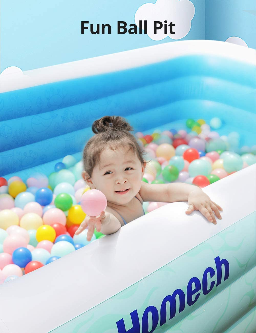 Garden Homech Inflatable Swimming Pool with Sun Shade UV30+ Sun Shelter Rectangular Lounge Pool for Backyard Inflatable Pool Adults Kids Family Swim Center 118x72x22 Blow Up Pool for Age 3+