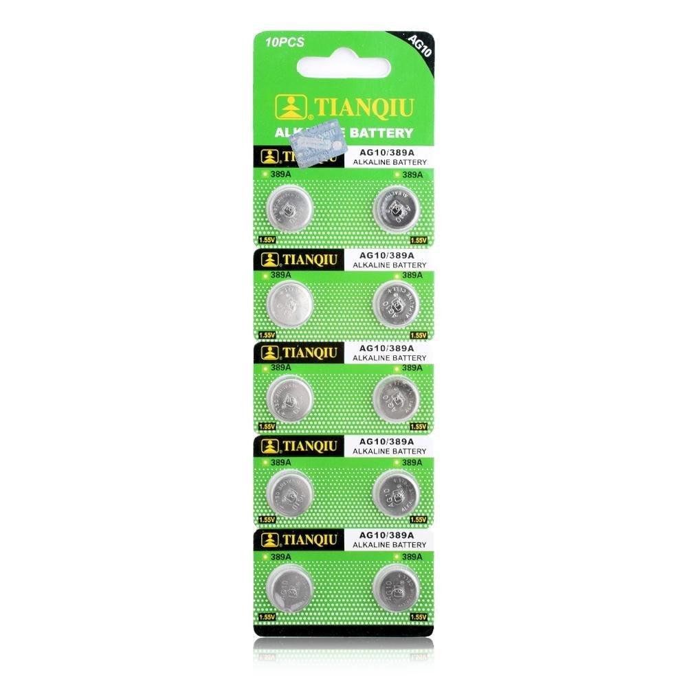 YCDC 10Pcs AG10 G10A SR1130 LR1130 390A D189 LR54 Alkaline Battery Button Coin Cells