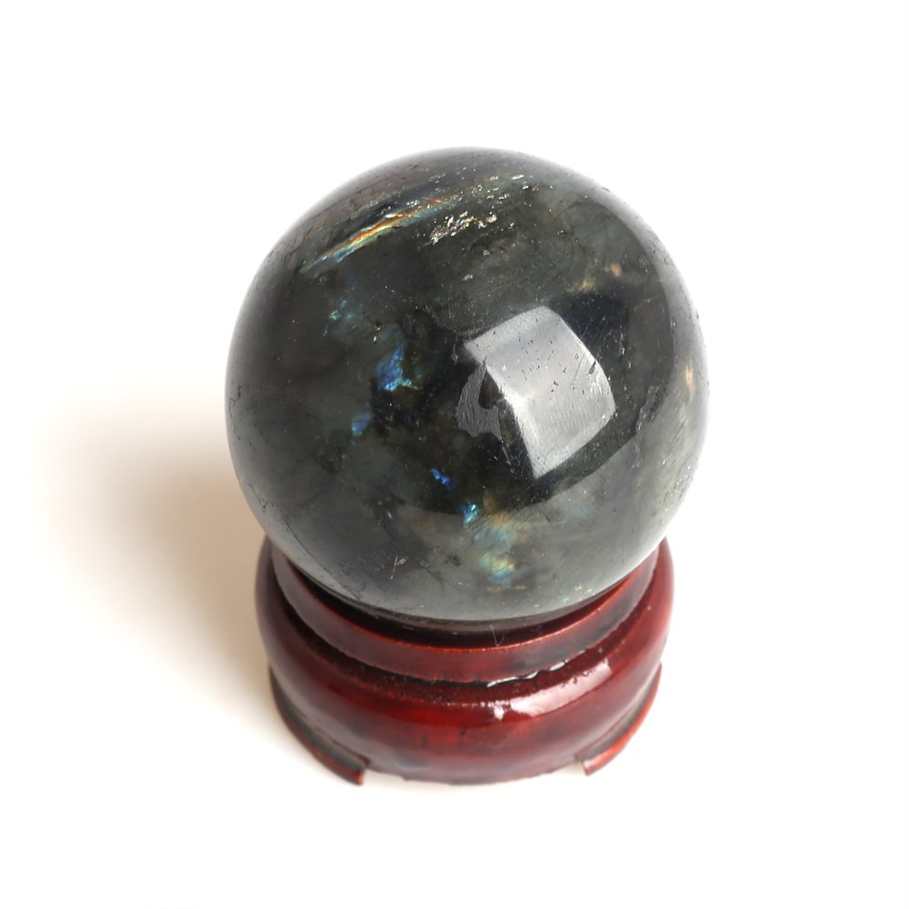 ruhong Natural Quartz Handmade 1.6 inches Healing Crystal Labradorite Ball Stone Craft Christmas Home Decoration Gift Collection Fengshui Sphere with Free Stand 1.6 inches