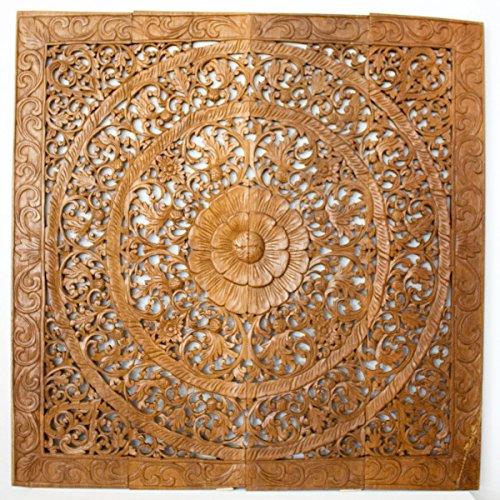 (Haussmann Reclaimed Teak Wood Natural Wax 48-inch Lotus Panel, Handmade in Thailand)