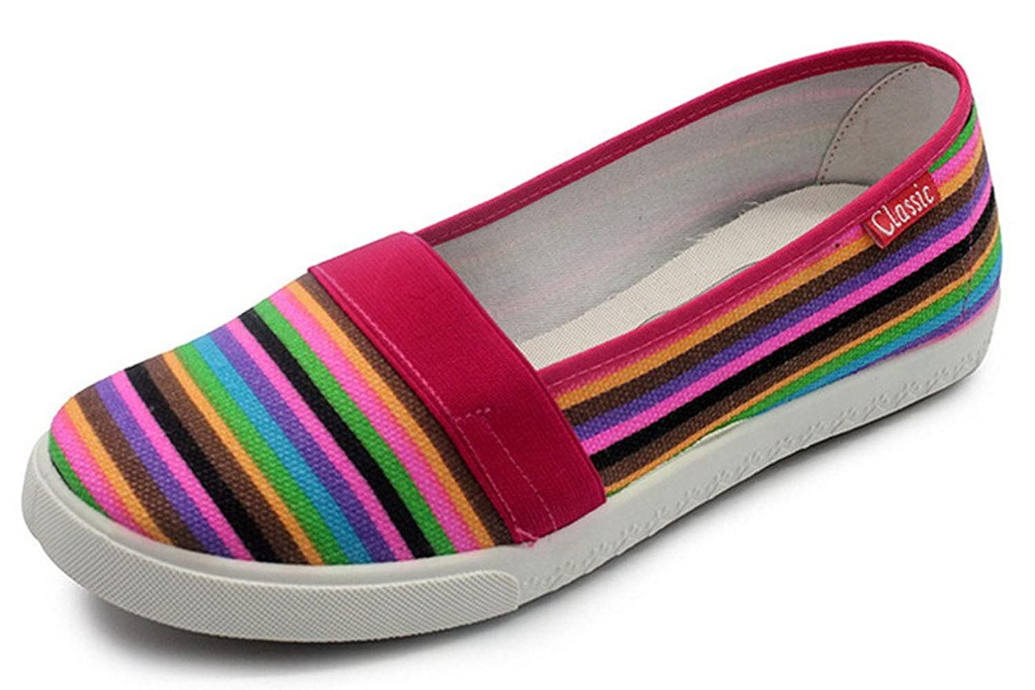 Maybest Women Loafers Soft Rainbow Stripes Slip On Flats Summer Style Canvas Shoes