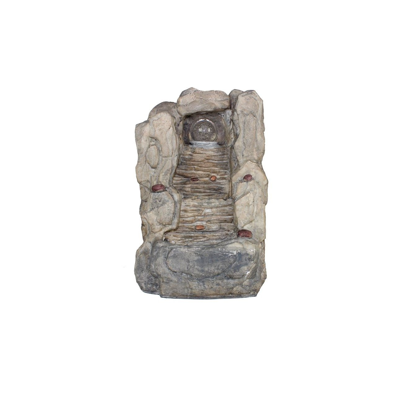 Essential Décor Entrada Collection Cascading Stone Walkway Water Fountain, 14.17-Inch