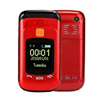 Big Button Flip Mobile Phone for Elderly - 2.4 Inch Touch Screen Senior Flip Mobile Phone, Dual SIM Card Dual Standby with Flashlight Radio Full Voice-Assistance Mobile Phone (US)