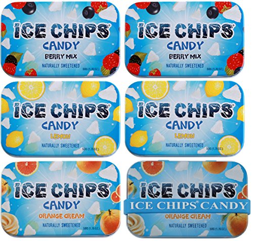 - ICE CHIPS Xylitol Candy 6 Tins (Fruity Pack); Low Carb, Gluten Free - includes ICE CHIPS BAND as shown