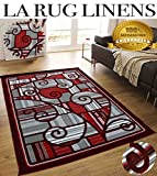 Cheap Colorful Gray Grey Silver Burgundy White Modern Contemporary Abstract Designer Hand Tufted 5×7 Bedroom Living Room Indoor Outdoor Floor Area Rug Throw .5 Inch Thin Pile Height ( Royal 2146A Burgundy )