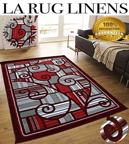 Colorful Grey Silver Burgundy White Modern Contemporary Abstract Designer Hand Tufted 8×10 Bedroom Living Room Indoor Outdoor Floor Area Rug Throw .5 Inch Thin Pile Height ( Royal 2146A Burgundy )