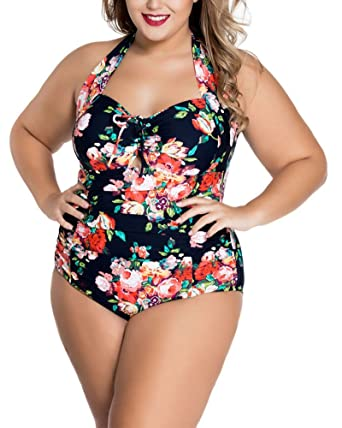 efe1a2bb514 Lalagen Womens Halter Pleated 1 Piece Plus Size Slimming Swimsuit Monokini