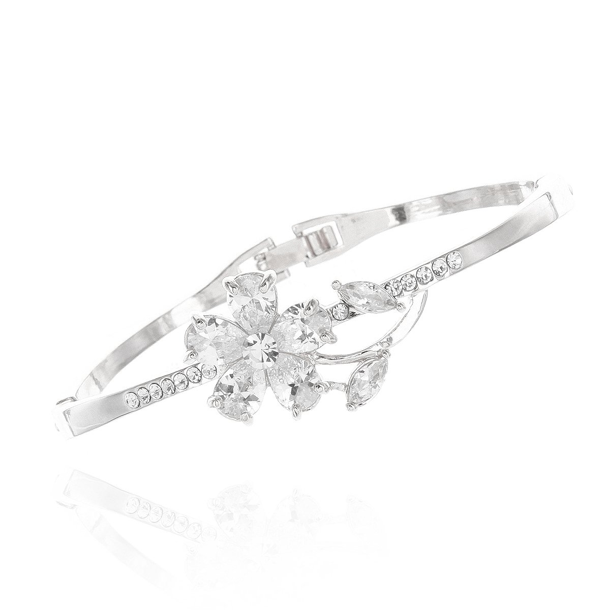 Naccessories Wedding Bridal CZ Single Flower Bracelet in White Gold Plating
