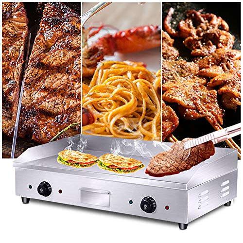 Commercial 4400W Electric Countertop Griddle Stainless Steel Grill Machine with 2 Adjustable Burners for Restaurant Barbecue by GOLDEN ELEPHANT (Image #2)