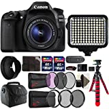Canon EOS 80D 24.2MP DSLR Camera + 18-55mm + 58mm Filter Kit + UV CPL ND Filter Kit + Rubber Hood + Two 16GB Memory Card + Holder + Reader + Led Video Light + Case + Flexible Tripod + 3pc Cleaning Kit