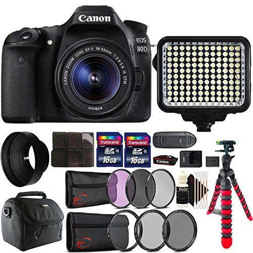 Canon EOS 80D 24.2MP DSLR Camera + 18-55mm + 58mm Filter Kit + UV CPL ND Filter Kit + Rubber Hood + Two 16GB Memory Card + Holder + Reader + Led Video Light + Case + Flexible Tripod + 3pc Cleaning Kit For Sale