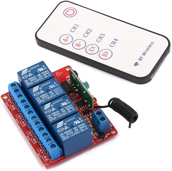 2X 12V 4 Channel 4CH RF Wireless Remote Controll Schalter Relaismodul 433MHz