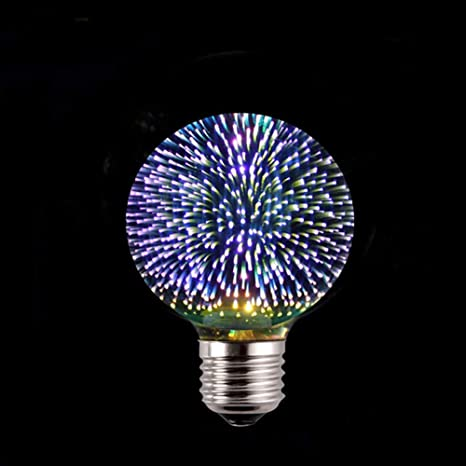 WWQY 3D Stereoscopic Firework Bulb 6W Christmas Tree Edison Colorful Bulb E27 Screw Thread Art Deco LED Colorful Bulbs for Home Party,1pcs