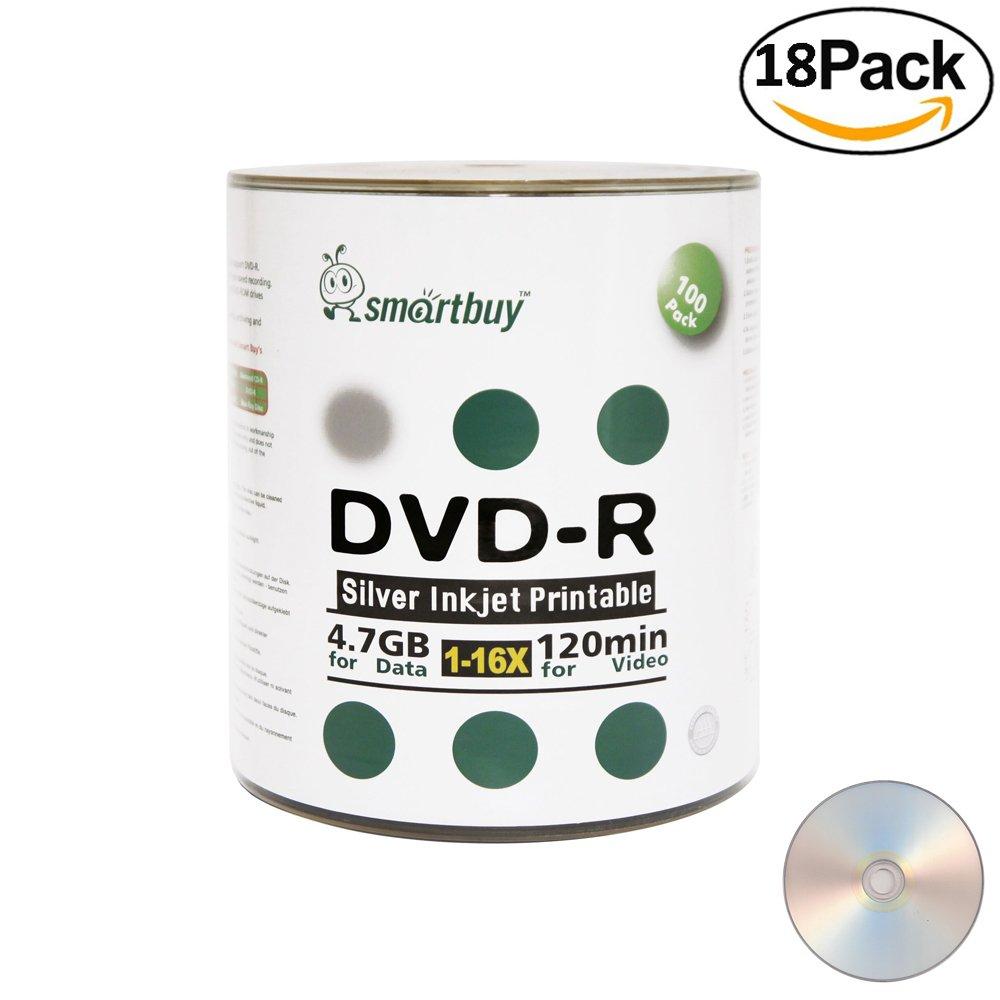 Smartbuy 4.7gb/120min 16x DVD-R Silver Inkjet Hub Printable Blank Media Data Record Disc (1800-Disc)