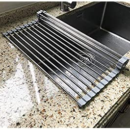 17.7″ x 11.5″ Long Dish Drying Rack, Attom Tech Home Roll Up Dish Racks Multipurpose Foldable Stainless Steel Over Sink Kitchen Drainer Rack for Cups Fruits Vegetables