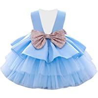 NSSMWTTC 6M-6T Baby Backless Pageant Dress Flower Toddler Girls Wedding Dresses with Sequins Bowknot
