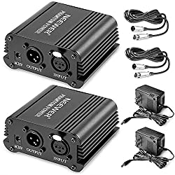 Neewer® 2 Pack 1- Channel 48v Phantom Power Supply Black With Adapter & Xlr Audio Cable For Any Condenser Microphone Music Recording Equipment