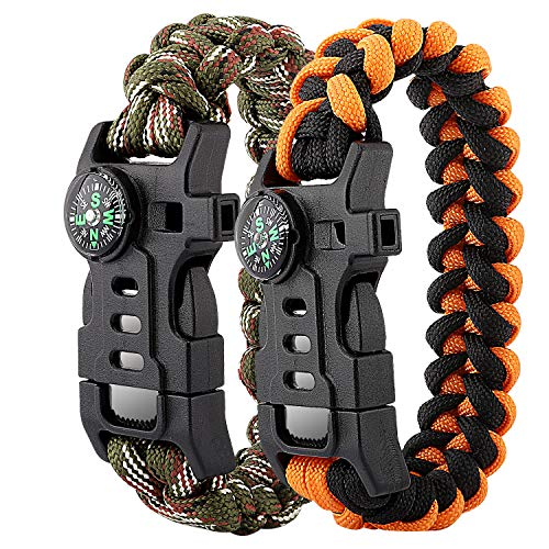 MoKo Paracord Bracelet 2 Pack Emergency Survival Gear Set with Whistle, Embedded Compass, Fire Starter, Emergency Knife for Hiking, Camping, Trekking, Mountaineering - Camouflage + Black - Kit Bear Claw