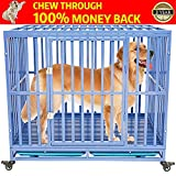 Gelinzon Heavy Duty Dog Cage Crate Kennel Playpen Large Strong Metal for Large Dogs and Pets, Easy to Assemble with Patent Lock and Four Lockable Wheels, 42''/ Blue