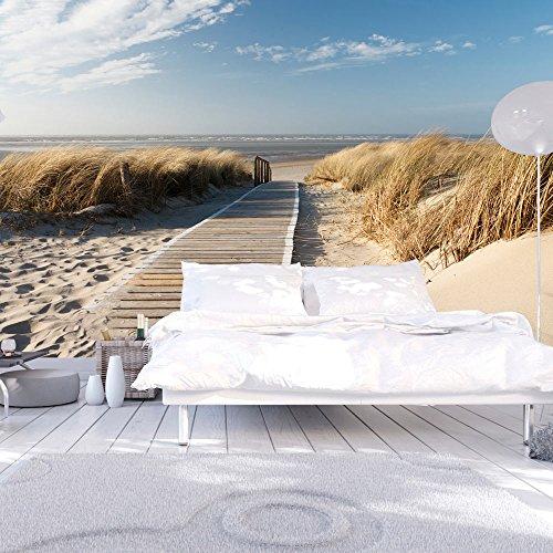 Vlies Tapete ! Top ! Fototapete ! Wandbilder XXL ! 450x270 cm - Strand ! Sand ! Wasser ! Natur ! Himmel ! Sommerferien ! Düne ! Sommer ! Wolken ! Blau ! Nordsee ! 100603-26