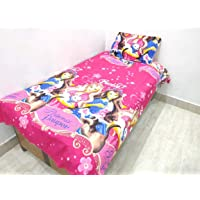 Singhs Mart Kids Cartoon Printed, Cotton Single Bedsheet with 1 Pillow Cover
