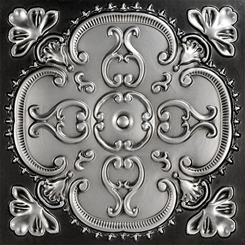 Alhambra-Faux Tin Ceiling Tile - Antique Silver 25-Pack by Decoraids