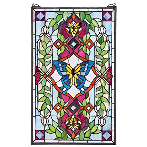 Design Toscano Butterfly Utopia Tiffany-Style Stained Glass Window, Full Color ()