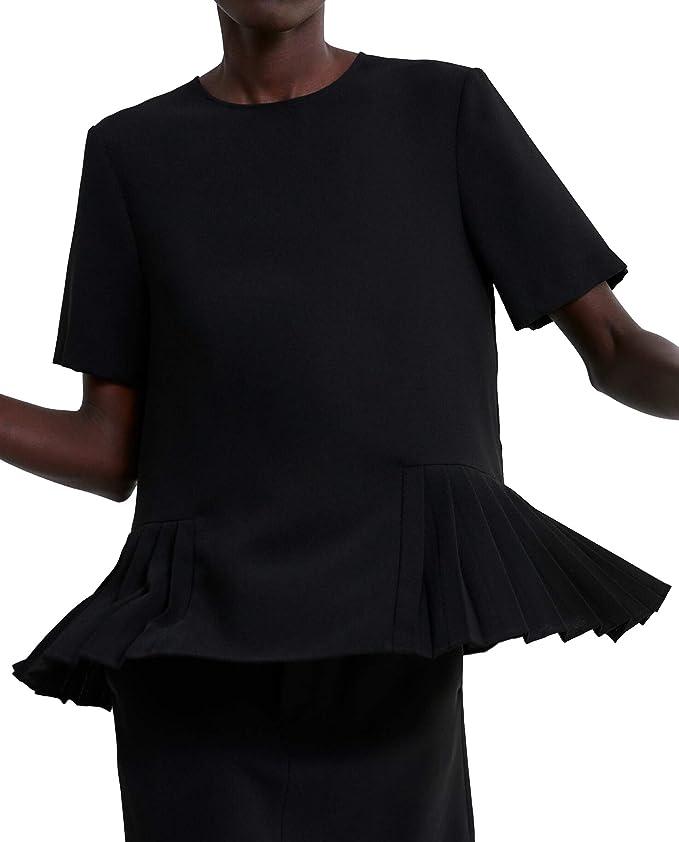 Zara 9479/053 - Top con Dobladillo Plisado para Mujer Negro ...