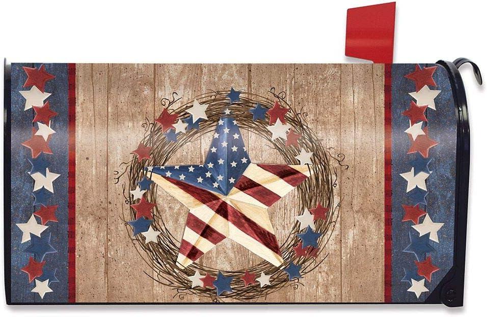 Briarwood Lane Americana Barnstar Patriotic Magnetic Mailbox Cover Primitive
