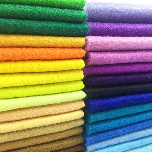 AiMay 50pcs Soft Felt Fabric Pack Felt Squares Sheets for DIY Craft Assorted Colors 1.4mm Thickness (20 cm x 30 cm) ()