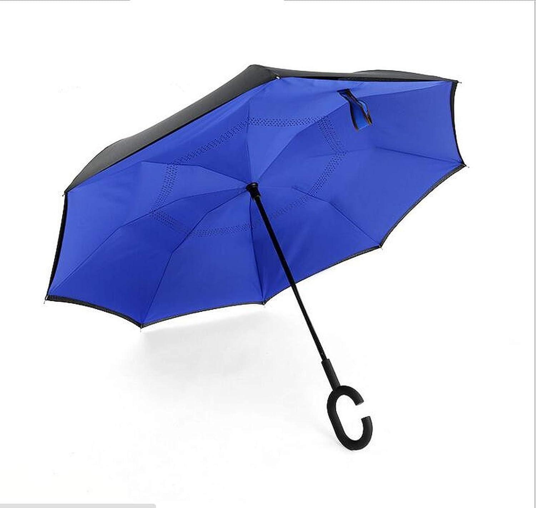 Folding Reverse Umbrella Double Layer Inverted Windproof Rain Car Umbrellas For Women Male,Same As Picture Colo13