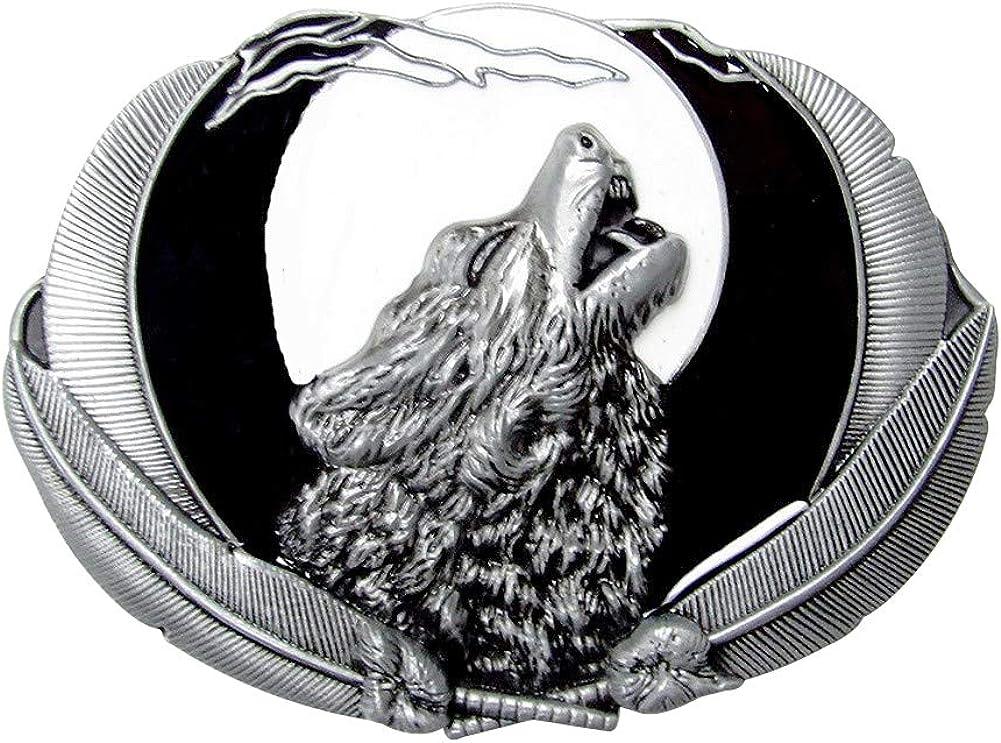 Peltro. G/én/érique Fibbia per Cintura lupo che ulula Piena Luna