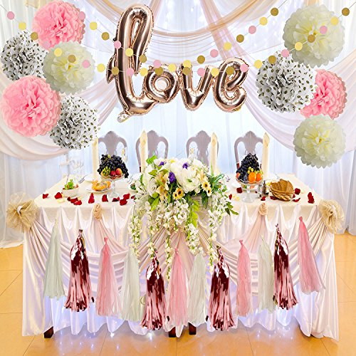 Bridal Shower Decorations Love Balloons Rose gold Tissue Paper Pom Poms Flowers Tassel Paper Garland Pink And Rose Gold Party Supplies Kit