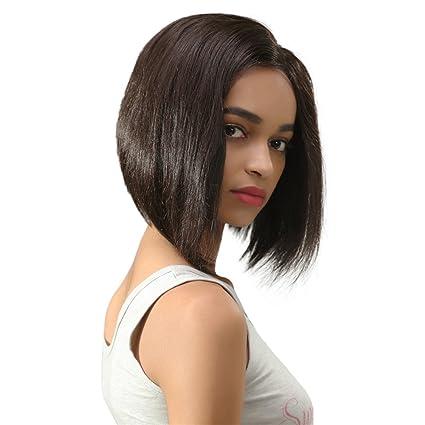 Remeehi recto corto Bob corte de pelo encaje peluca brasileña humano cabello completa encaje Pelucas Para