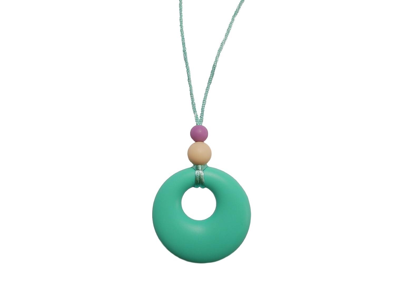 ohne BPA Halskette mit Bei/ßanh/änger aus Silikon und Perlen f/ür zahnende Babys w/ährend des Stillens handgefertigt von MilkMama 5 Farben Marineblau