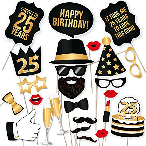 25th Birthday Party (25th Birthday Photo Booth Props – Fabulous Forty Party Decoration Supplies For Him &Her, Funny Fortieth Bday Photobooth Backdrop Signs For Men And Women, Photography Black And Gold Décor – 34 Pieces)