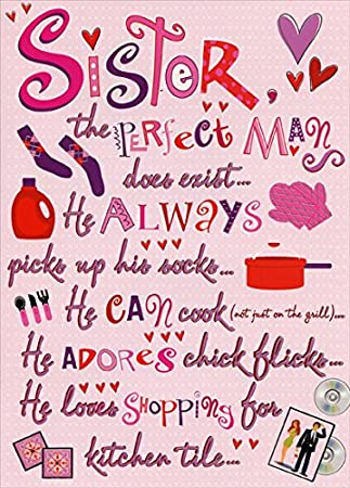 Amazon the perfect man sister designer greetings funny the perfect man sister designer greetings funny valentines day card m4hsunfo